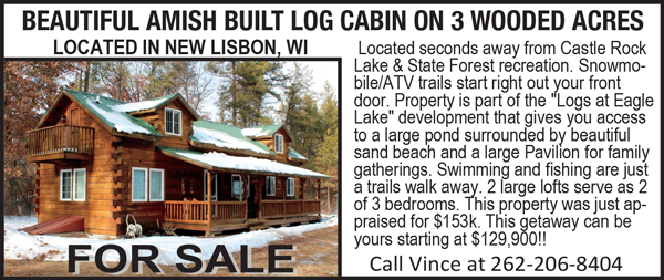 Amish Built Cabin For Sale. On Wisconsin Outdoors